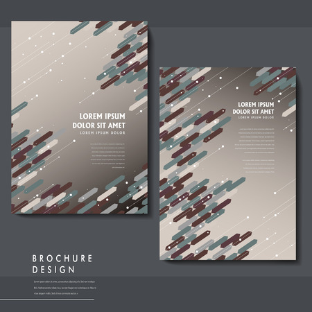 trendy brochure template design with geometric elements in brown