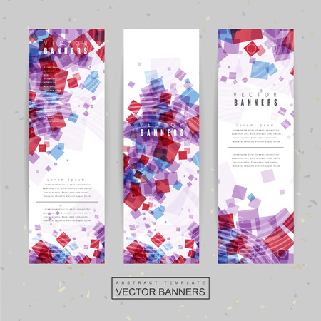 purple texture: lovely banner template design with translucent squares in red and blue color