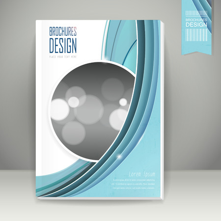 elegant book cover template design with blue streamline wave Çizim