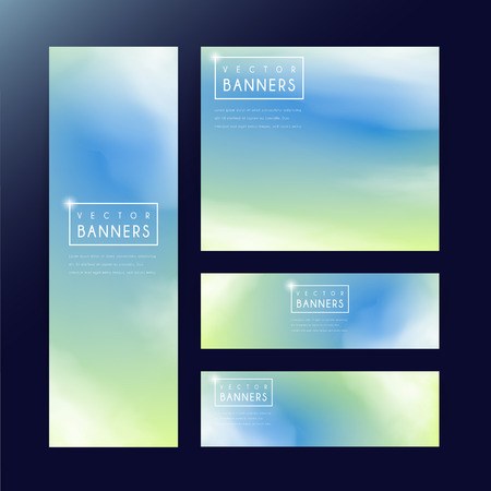 abstract banner template design with blurred background in green and blue