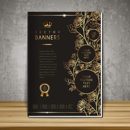 Diseño de plantilla de la portada del libro de flores de lujo en dorado y negro Foto de archivo - 37966780