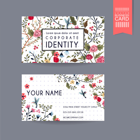 graceful business card design with lovely floral pattern over purple spotted white background