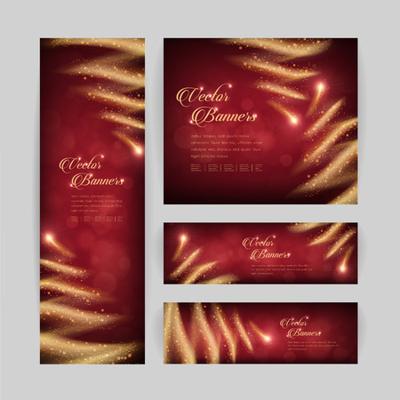 gorgeous banner template design with sparkling golden stream