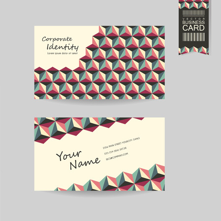 call card: modern business card template design with geometric background in red, green and beige