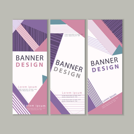 trendy banner template design with colorful stripe