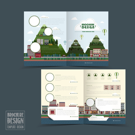 forest management: adorable town scenery half-fold brochure template in flat design