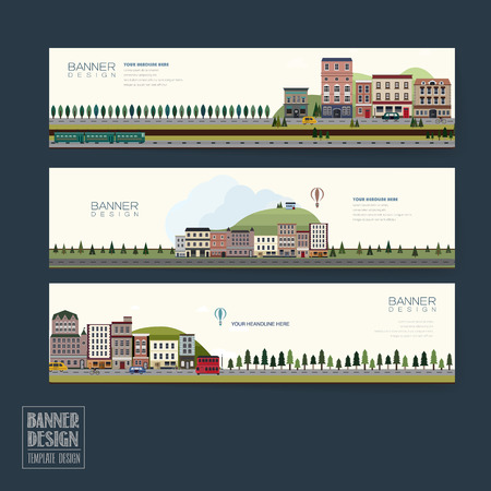 banner design: adorable town scenery banner template in flat design Illustration