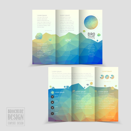 pamphlet: lovely tri-fold brochure template design with colorful polygonal background