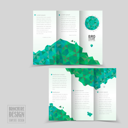 simplicity: simplicity tri-fold brochure template design with geometric patterns in green