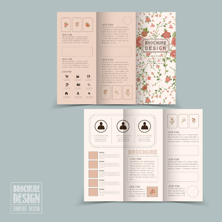 graceful: graceful floral tri-fold brochure template design in soft pink