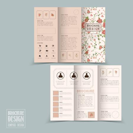graceful floral tri-fold brochure template design in soft pink