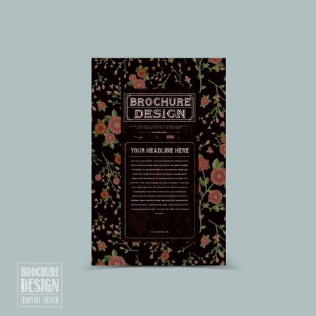 graceful: graceful floral brochure template design over black background