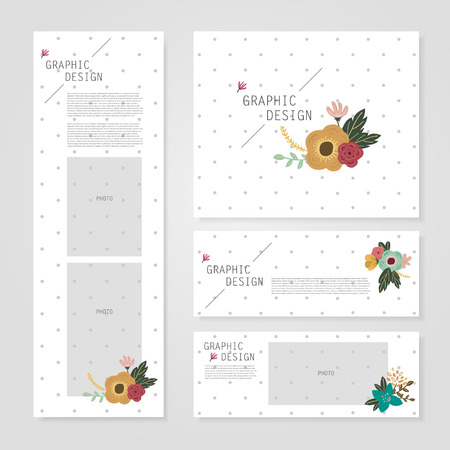 spotted flower: lovely banner template design with elegant flower element over grey spotted white background