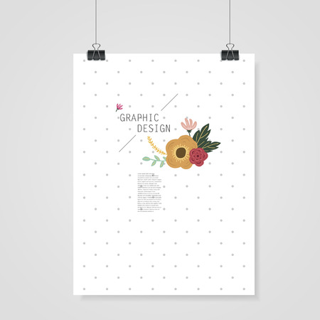 spotted flower: lovely poster template design with elegant flower element over grey spotted white background