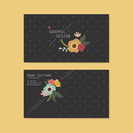 spotted flower: lovely business card design with elegant flower element over grey spotted black background Illustration