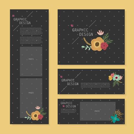 spotted flower: lovely banner template design with elegant flower element over grey spotted black background
