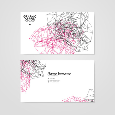 twining: abstract business card design with modern geometric polygon element over white