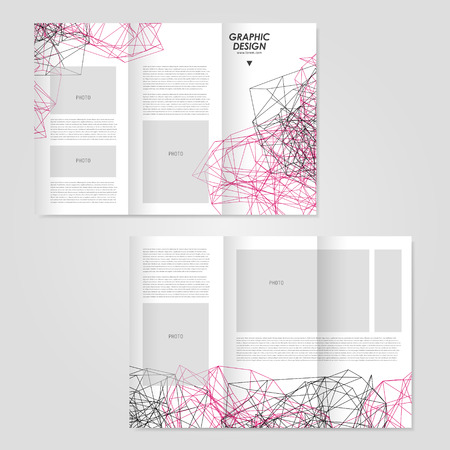 twining: abstract tri-fold brochure design with modern geometric polygon element over white