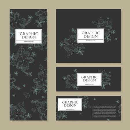 temperament: graceful banner template design with delicate blue floral pattern Illustration