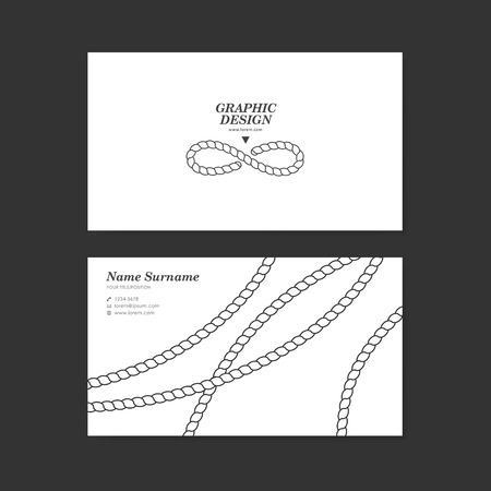 artful: graceful business card template design with elegant rope pattern over white background