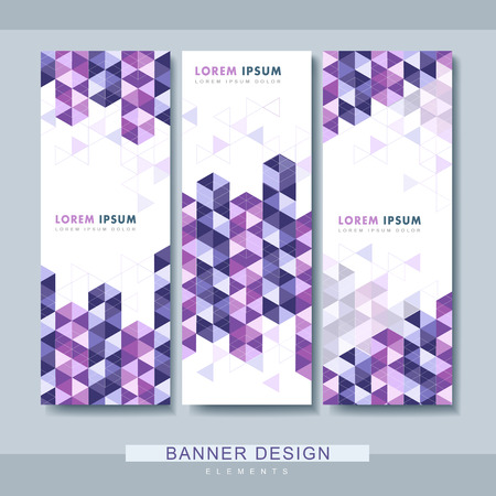 artful: modern banner set template design with purple triangle elements