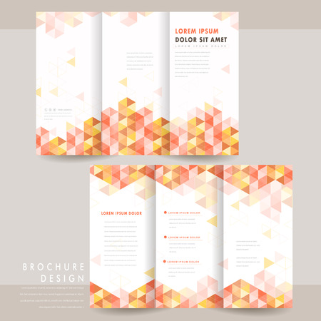 artful: modern tri-fold brochure template design with colorful triangle elements