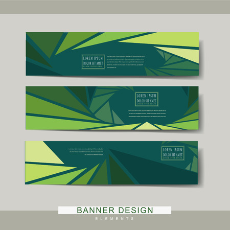a charming: charming banner template design with triangle background in green