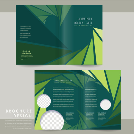charming half-fold brochure template design with triangle background in green Illustration
