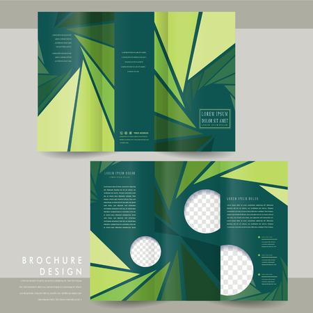 очаровательный: Очаровательный три раза дизайн шаблона брошюры с треугольника фона в зеленых