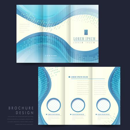 pamphlet: elegant tri-fold brochure template design with blue streamline wave