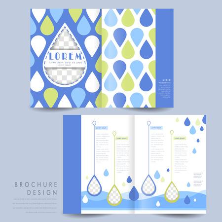 Diseño de plantilla de folleto plegado en dos adorable con patrón gota de agua en verde y azul Foto de archivo - 37966887