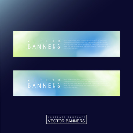 metaphysical: abstract banner template design with blurred background in green and blue