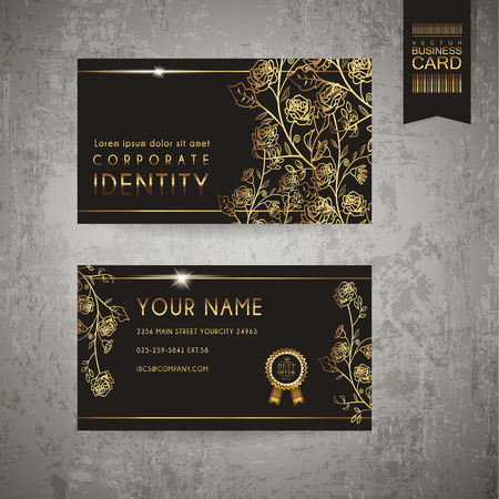 luxurious floral business card template design in golden and black Vectores