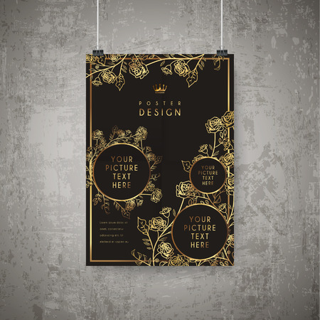 luxurious floral poster template design in golden and black