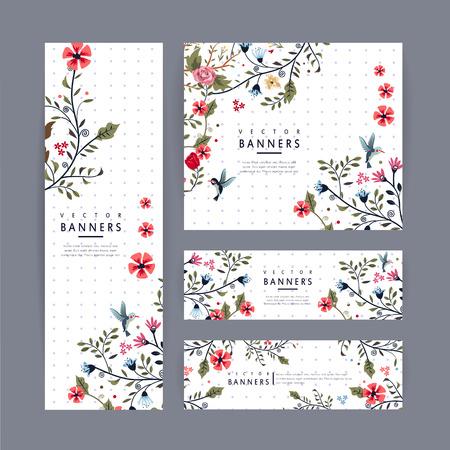 Anmutigen Banner-Vorlage Design mit schönen Blumenmuster auf lila gefleckten weißen Hintergrund Standard-Bild - 37967082