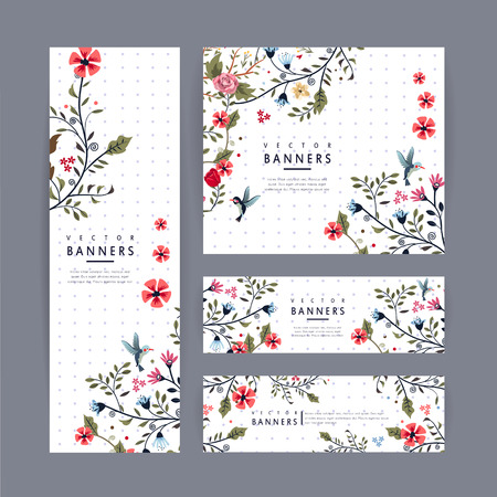 Gracieuse conception du modèle de bannière avec belle motif floral sur fond blanc tacheté de pourpre Banque d'images - 37967082