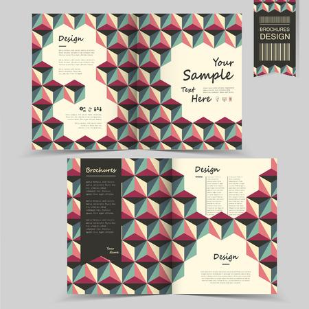 modern half fold brochure template design with geometric background