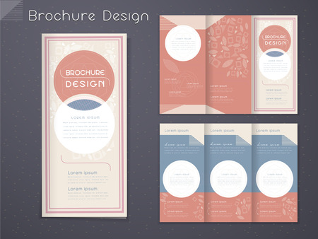graceful tri-fold brochure template design with circular elements in pink and white