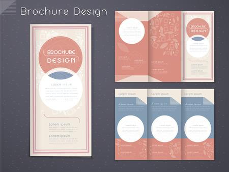sierlijke tri-fold brochure template design met ronde elementen in roze en wit Stock Illustratie