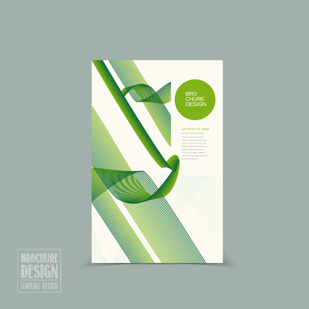 simplicity brochure template design with green streamline pattern Vector