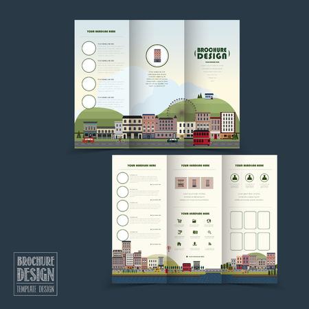 schattig stadje landschap tri-fold brochure sjabloon in plat design