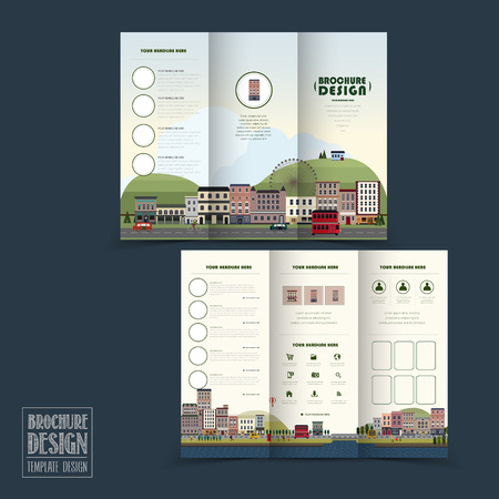 adorable town scenery tri-fold brochure template in flat design