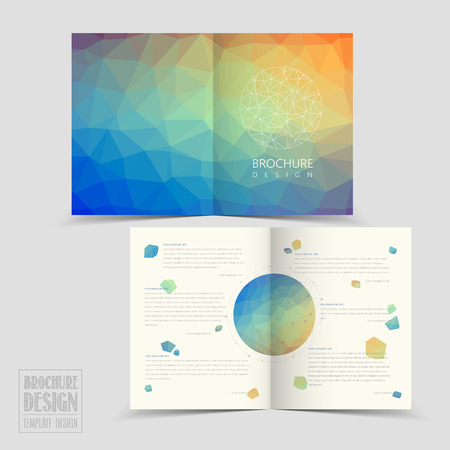 lovely half-fold brochure template design with colorful polygonal background