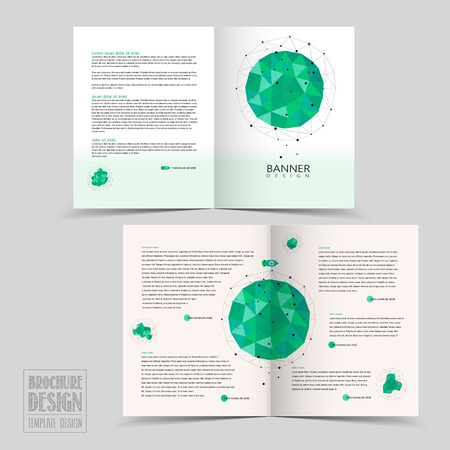 simplicity: simplicity half-fold brochure template design with geometric patterns in green Illustration