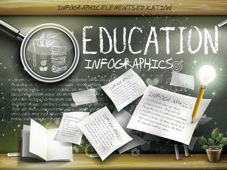 glass paper: attractive infographic element over blackboard background with magnifying glass, paper and pen