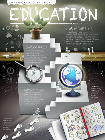 education infographics wooden framed blackboard with stairs, book, magnifying glass, plant and globe Çizim