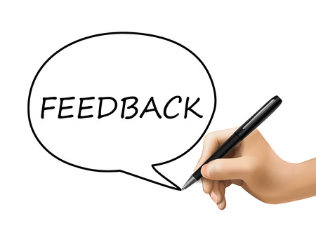complain: feedback word in speech bubble written by 3d hand