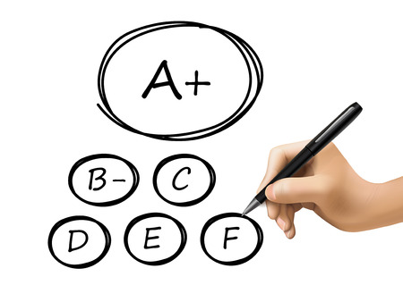 grades: grades set drawn by 3d hand isolated over white background Illustration