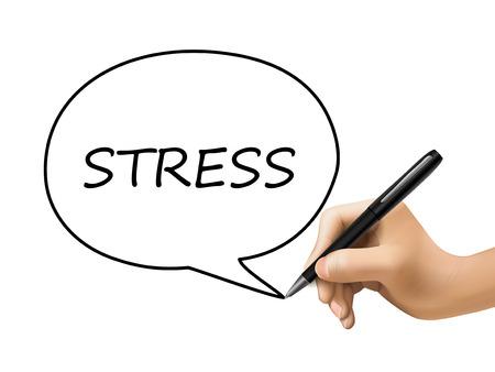 exhaustion: stress word in speech bubble written by 3d hand