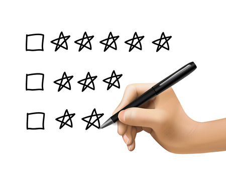 star rating: five star rating drawn by 3d hand over white background Illustration